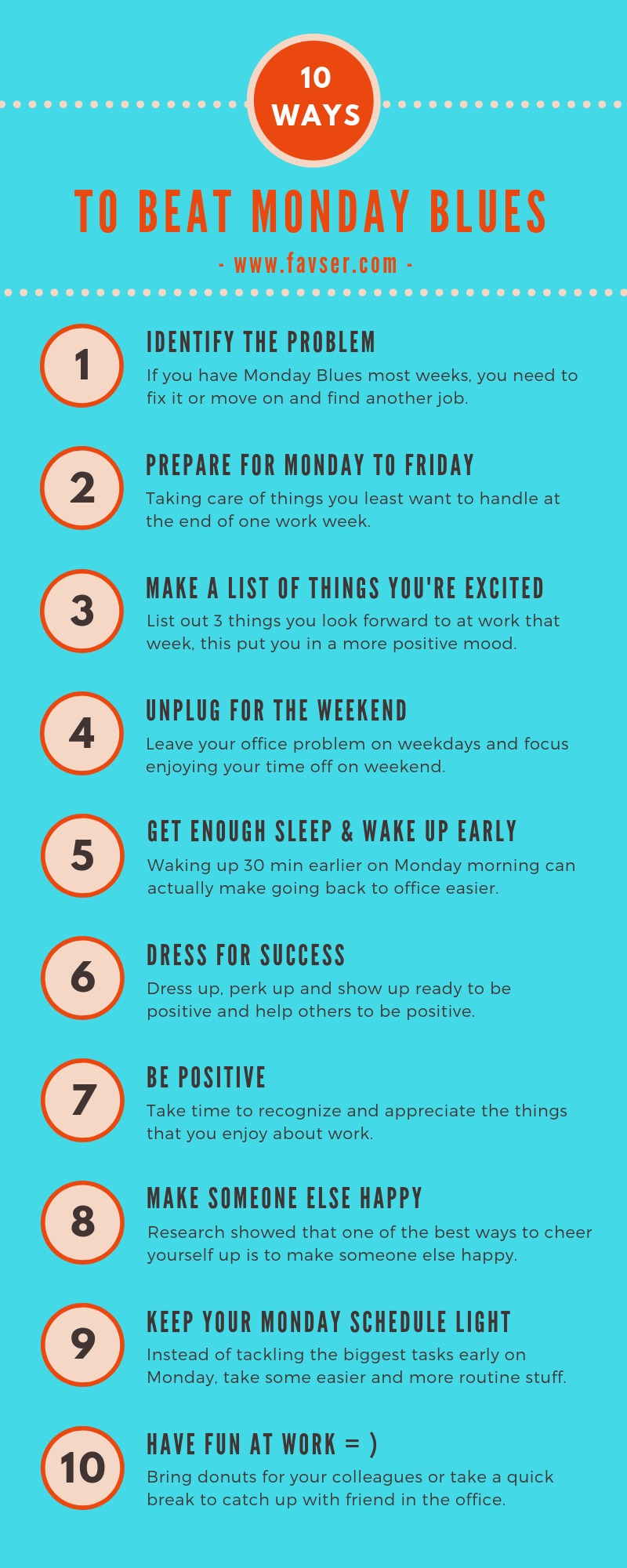 Infographic - Top 10 Ways To Beat Monday Blues